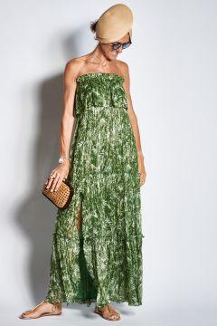 Abito lungo verde con lurex