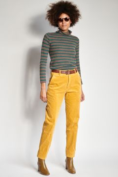 Yellow skinny velvet pants