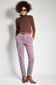 Pantaloni lilla in velluto skinny