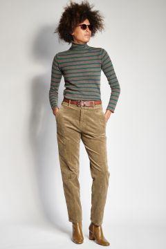Pantaloni salvia in velluto skinny