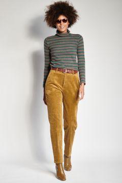 Pantaloni bronzo in velluto skinny