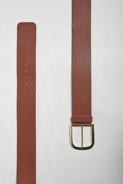 Cintura alta cuoio con fibbia