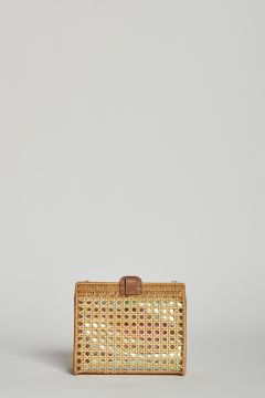 Juliana clutch bag in woven straw