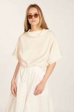 White linen high-neck sweater