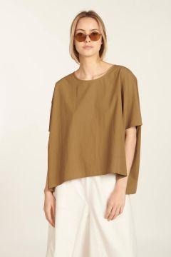 T-shirt marrone di cotone strutturato