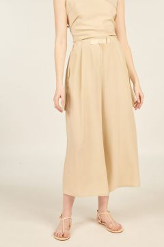 Wide Cropped Silk Pants