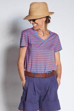 Lurex striped V-neck T-shirt