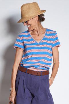 ines de la fressange T-Shirt scollo v a righe multicolor