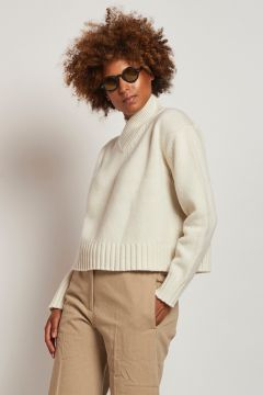 white v-neck wool sweater