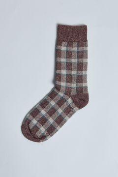 burgundy lurex checked sock