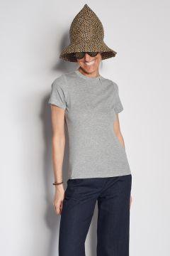 T-shirt grigia in cotone con dettaglio ape