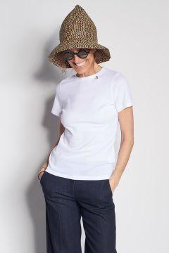 T-shirt bianca in cotone con dettaglio ape