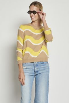 Beige and yellow wave cashmere sweater