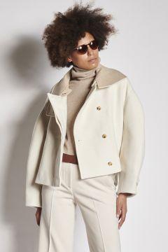 Ivory oversized wool jacket