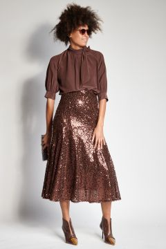 Brown flared skirt with sequins