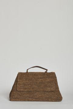 Dark tea handbag or shoulder bag with magnet closure