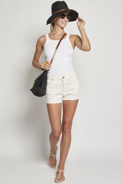 White denim shorts