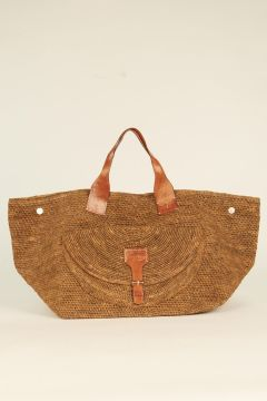 Dark Tea Laza woven rafia bag