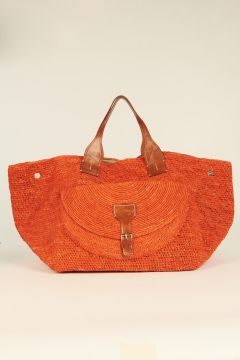 Orange Laza woven rafia bag