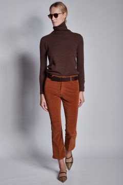 Smooth velvet bronze trousers