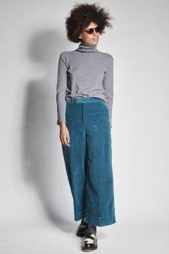 Pantaloni in vellutto ottanio
