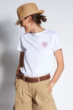 Crew neck t-shirt with flower embroidery