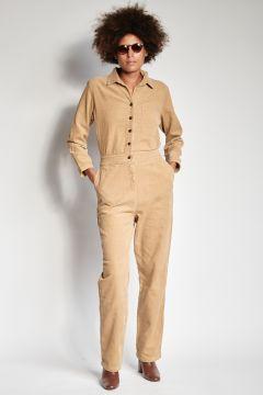Beige corduroy jumpsuit