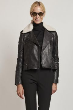 black leather jacket with white sheepskin collar
