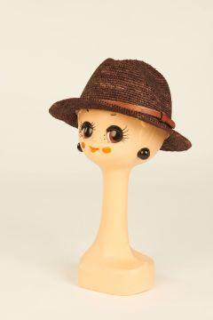 Brown Lubeman raffia trilby hat