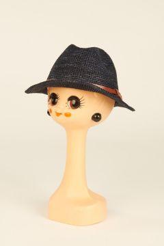 Navy Blue Lubeman raffia trilby hat