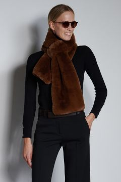 Camel-colored faux fur stole