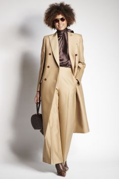 Double-breasted beige coat