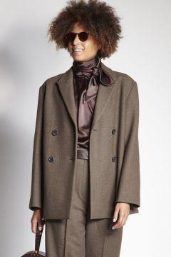 Giacca doppiopetto marrone in lana
