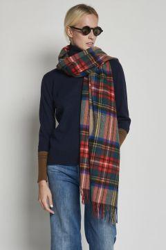 over tartan beige scarf