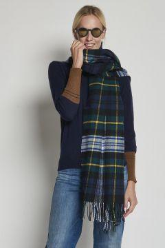 over green tartan scarf