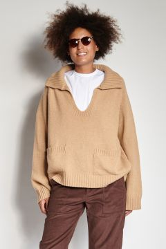 Camel polo sweater with pockets