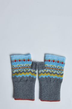 gray fingerless gloves with blue inserts