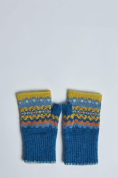 blue fingerless gloves with yellow inserts