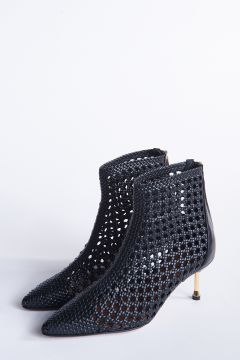 Black ankle boot with holes