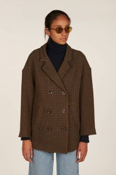 Lucas double-sided houndstooth wool jacket