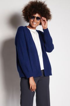 Blue ribbed cardigan