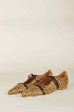 Ballet flats in gold and black fabric