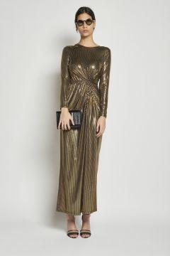 long laminated dress