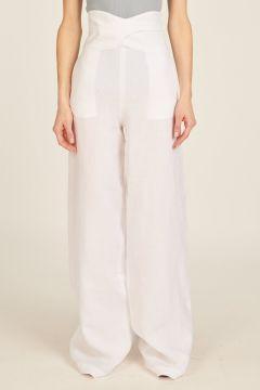 Pantaloni bianchi di lino a vita alta