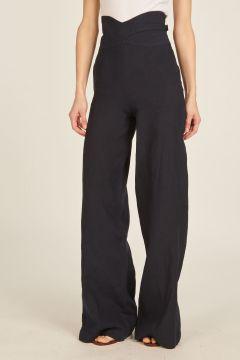 Pantaloni blu di lino a vita alta