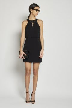 short back neckless satin dress