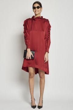 flared satin dress