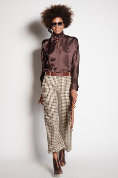 Checkered trousers with turn-ups