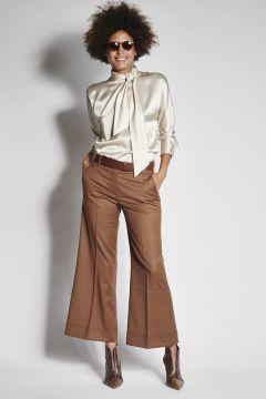 Pantaloni marroni con risvolto