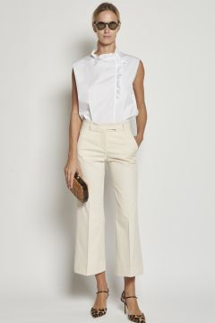 Beige trousers with turn-ups